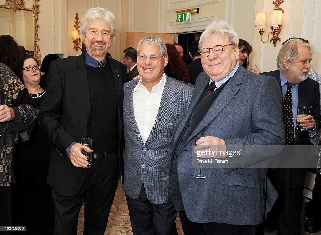 Willy Russell, Sir Cameron Mackintosh and Sir Alan Parker attend a drinks reception awarding Sir Alan Parker the BAFTA Fellowship supported by Hackett at The Savoy Hotel on February 5, 2013 in London, England.