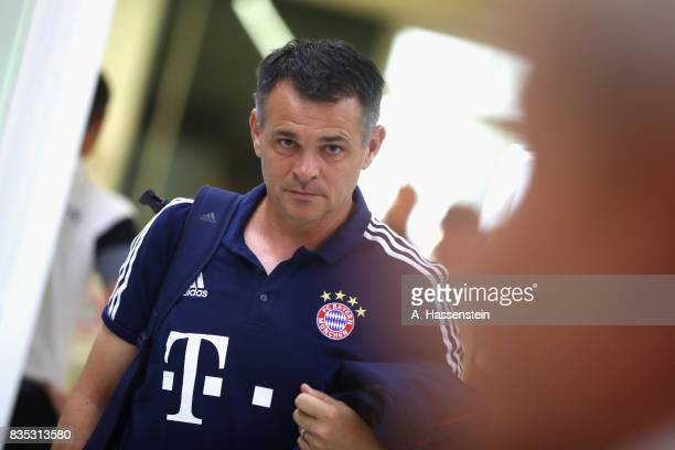 Willy Sagnol assistent coach of Bayern Muenchen arrives for the Bundesliga match between FC Bayern Muenchen and Bayer 04 Leverkusen at Allianz Arena...