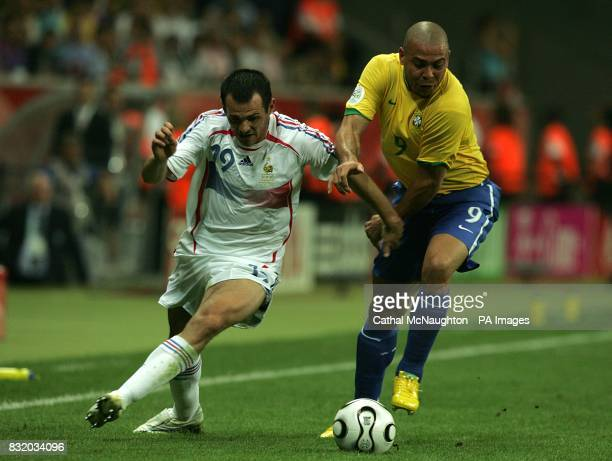 Willy Sagnol France and Luiz Ronaldo Brazil battle for the ball