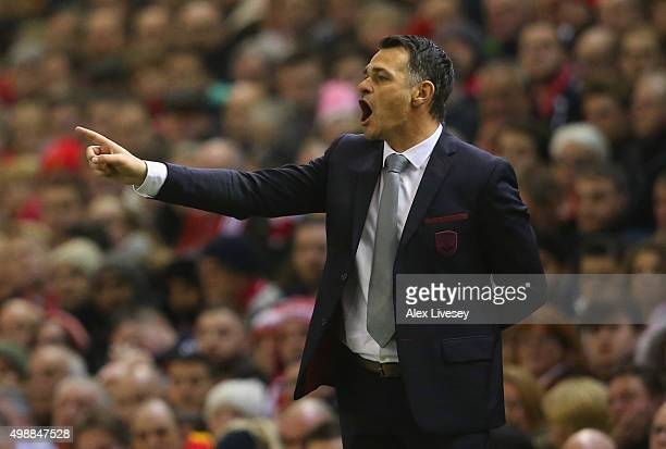 Willy Sagnol manager of Bordeaux signals during the UEFA Europa League Group B match between Liverpool FC and FC Girondins de Bordeaux at Anfield on...