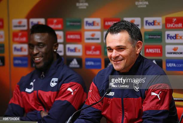 Willy Sagnol the coach of FC Girondins de Bordeaux and Lamine Sane face the media during a press conference at Anfield on November 25 2015 in...