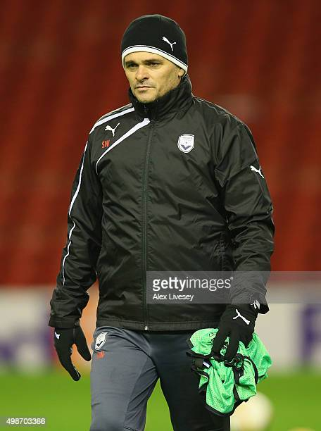 Willy Sagnol the coach of FC Girondins de Bordeaux looks on during a training session at Anfield on November 25 2015 in Liverpool United Kingdom