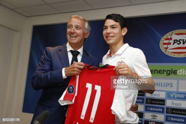 Willy van der Kuijlen of PSV Hirving Lozano of PSV during the presentation of the new PSV players on July 21 2017 at Philips stadium in Eindhoven The...