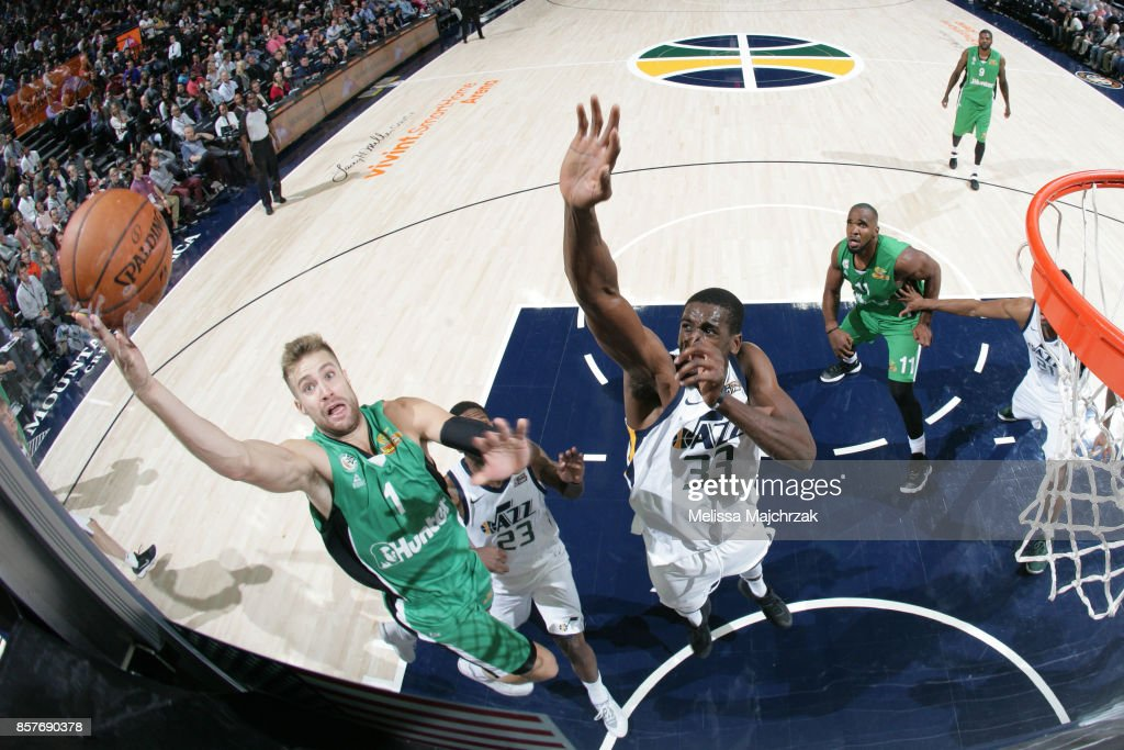 Willy Workman #1 of the Maccabi Haifa shoots the ball against the Utah Jazz during a preseason game on October 4, 2017 at vivint.SmartHome Arena in Salt Lake City, Utah.