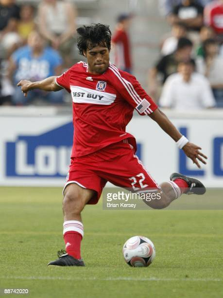 Wilman Conde of the Chicago Fire kicks the ball during the first half against Chivas USA during the match in the SuperLiga 2009 soccer tournament at...