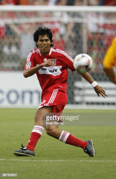 Wilman Conde of the Chicago Fire makes a pass against Tigres UANL during the first half of the match in the SuperLiga 2009 soccer tournament at...
