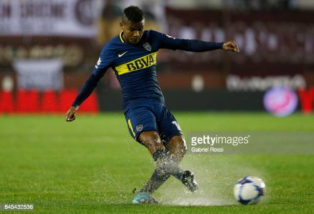 Wilmar Barrios of Boca Juniors kicks the ball during a match between Lanus and Boca Juniors as part of the Superliga 2017/18 at Ciudad de Lanus...