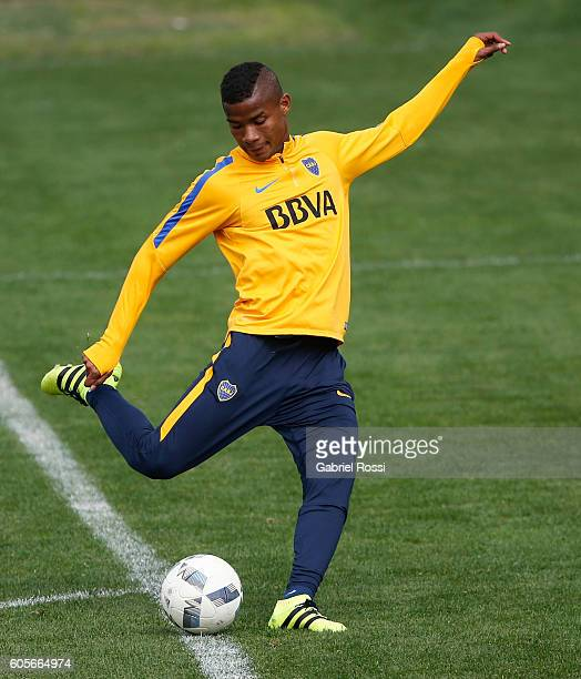 Wilmar Barrios of Boca Juniors kicks the ball during Boca Juniors training session at Luis Conde Stadium on September 14 2016 in Buenos Aires...