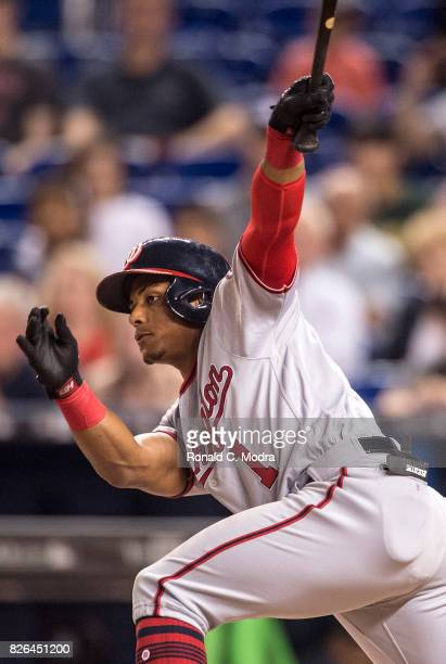 Wilmer Difo of the Miami Marlins bats during a MLB game against the Washington Nationals at Marlins Park on August 1 2017 in Miami Florida