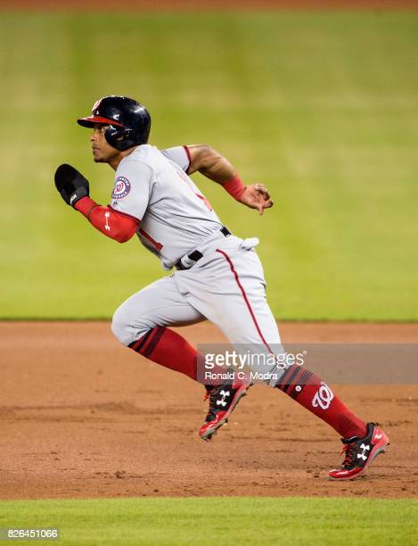 Wilmer Difo of the Miami Marlins runs to second base during a MLB game against the Washington Nationals at Marlins Park on August 1 2017 in Miami...