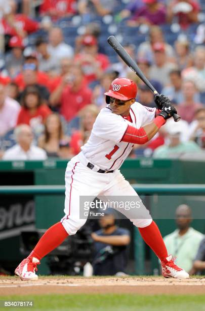 Wilmer Difo of the Washington Nationals bats against the Miami Marlins at Nationals Park on August 10 2017 in Washington DC