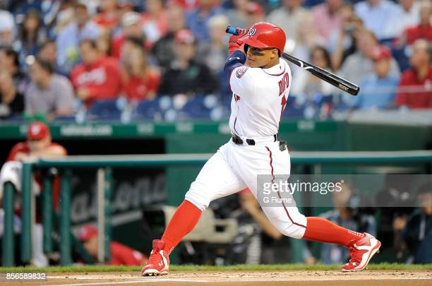 Wilmer Difo of the Washington Nationals bats against the Philadelphia Phillies at Nationals Park on September 7 2017 in Washington DC