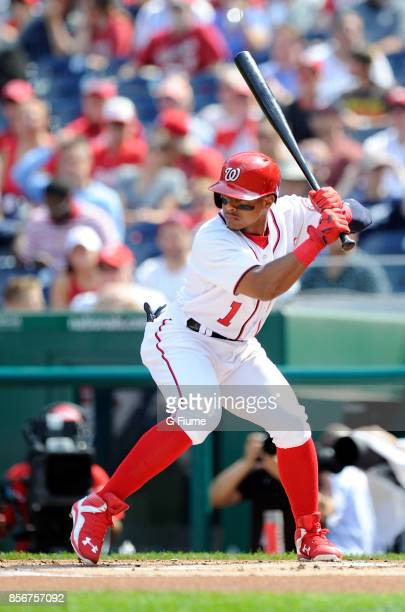 Wilmer Difo of the Washington Nationals bats against the Philadelphia Phillies at Nationals Park on September 10 2017 in Washington DC