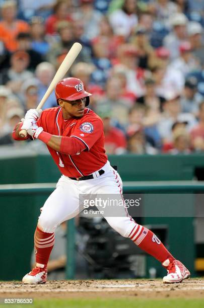 Wilmer Difo of the Washington Nationals bats against the San Francisco Giants during Game 2 of a doubleheader at Nationals Park on August 13 2017 in...