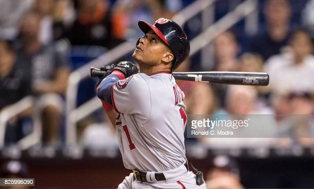 Wilmer Difo of the Washington Nationals bats during a MLB game against the Miami Marlins at Marlins Park on July 31 2017 in Miami Florida