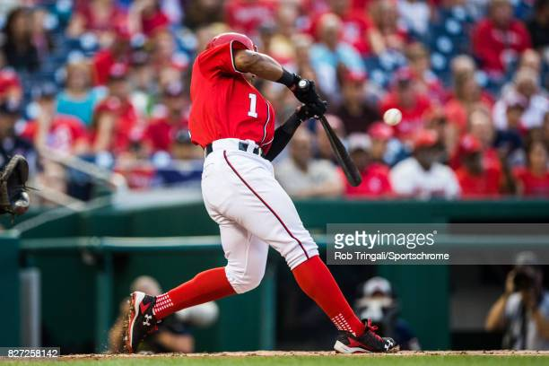 Wilmer Difo of the Washington Nationals bats during the game against the Colorado Rockies at Nationals Park on July 29 2017 in Washington DC