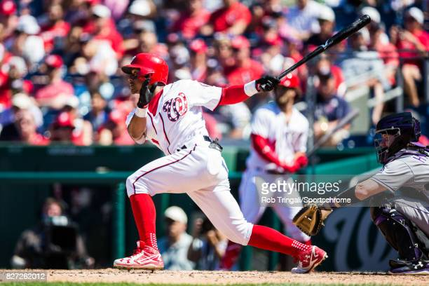 Wilmer Difo of the Washington Nationals bats during the game against the Colorado Rockies at Nationals Park on July 30 2017 in Washington DC