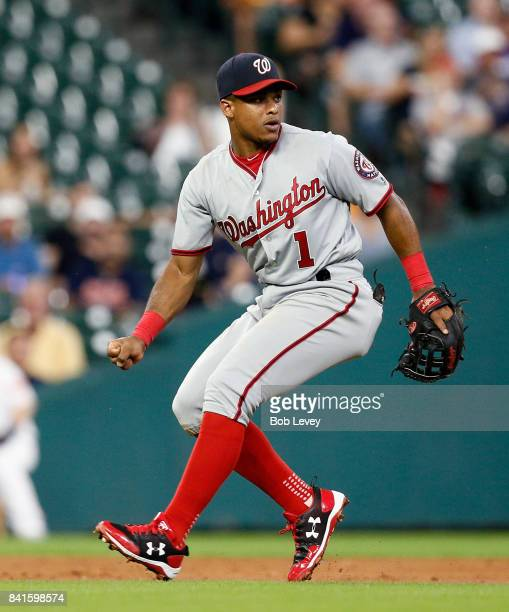 Wilmer Difo of the Washington Nationals can't make a play on a slow roller against the Houston Astros at Minute Maid Park on August 22 2017 in...