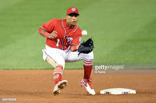 Wilmer Difo of the Washington Nationals catches the ball against the San Francisco Giants during Game 2 of a doubleheader at Nationals Park on August...