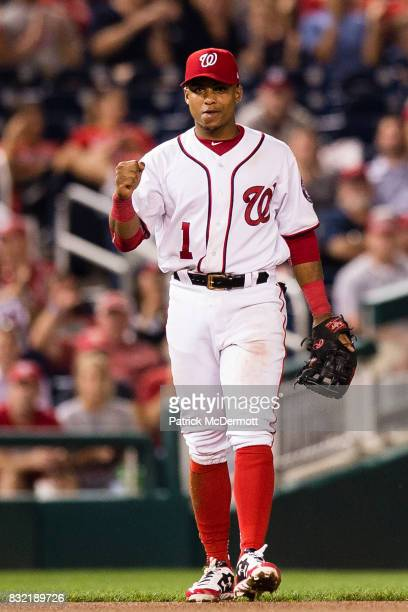 Wilmer Difo of the Washington Nationals celebrates after throwing out Albert Pujols of the Los Angeles Angels of Anaheim at first base on a ground...