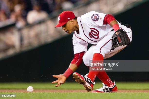 Wilmer Difo of the Washington Nationals fields a ground ball and throws out Martin Maldonado of the Los Angeles Angels of Anaheim at first base in...