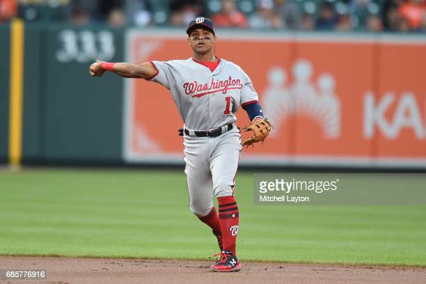 Wilmer Difo of the Washington Nationals fields a ground ball during a baseball game against the Baltimore Orioles at Oriole Park at Camden Yards on...