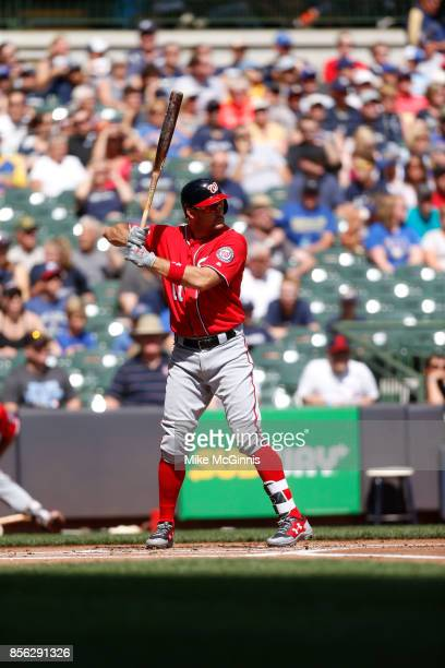 Wilmer Difo of the Washington Nationals gets ready for the next pitch during the game against the Milwaukee Brewers at Miller Park on September 03...