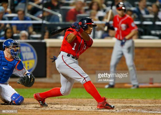 Wilmer Difo of the Washington Nationals in action against the New York Mets at Citi Field on September 23 2017 in the Flushing neighborhood of the...