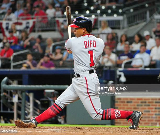 Wilmer Difo of the Washington Nationals knocks in a run with an eighthinning fielder's choice against the Atlanta Braves at SunTrust Park on April 19...