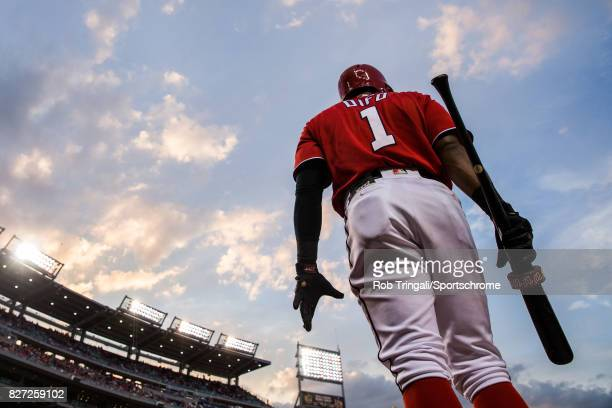 Wilmer Difo of the Washington Nationals looks on during the game against the Colorado Rockies at Nationals Park on July 29 2017 in Washington DC