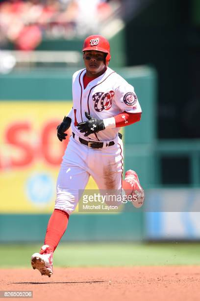 Wilmer Difo of the Washington Nationals rounds the bases after hitting a home run during game one of a doubleheader baseball game against the...