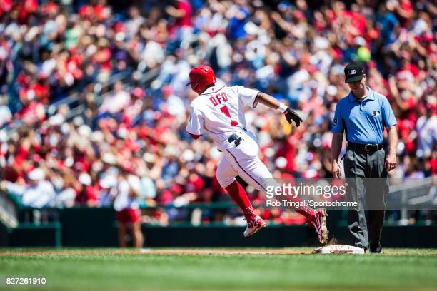Wilmer Difo of the Washington Nationals rounds the bases after hiting a home run during the game against the Colorado Rockies at Nationals Park on...
