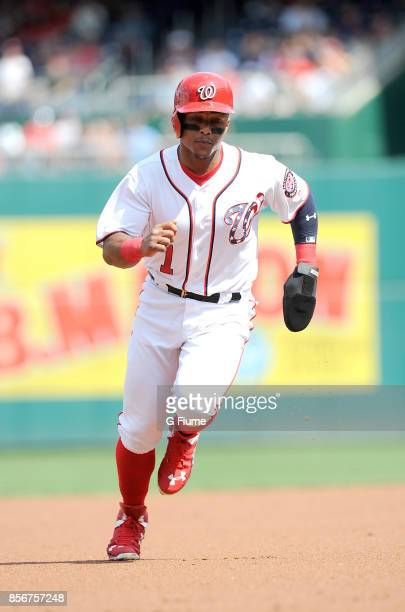 Wilmer Difo of the Washington Nationals runs the bases against the Philadelphia Phillies at Nationals Park on September 10 2017 in Washington DC