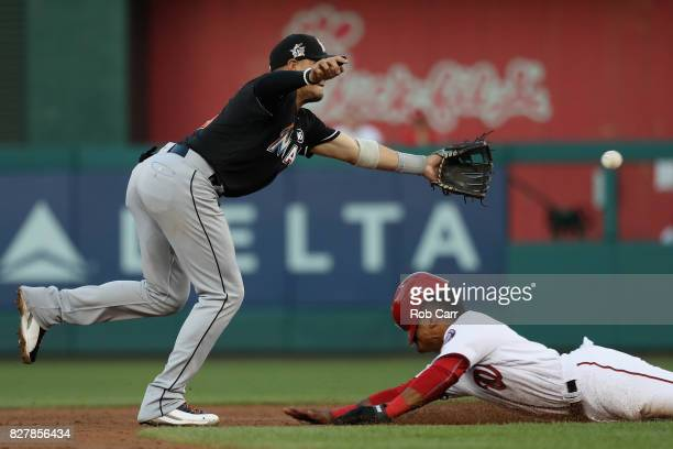 Wilmer Difo of the Washington Nationals steals second base as Miguel Rojas of the Miami Marlins goes for the ball in the second inning at Nationals...