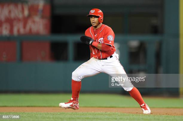 Wilmer Difo of the Washington Nationals takes a lead off of first base against the San Francisco Giants at Nationals Park on August 12 2017 in...