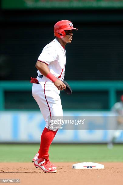 Wilmer Difo of the Washington Nationals takes a lead off of second base against the Philadelphia Phillies at Nationals Park on September 10 2017 in...