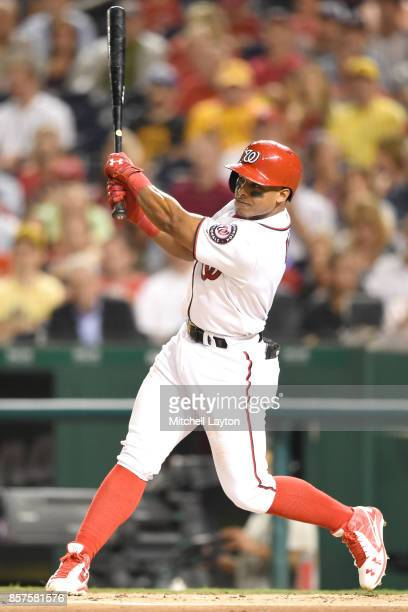 Wilmer Difo of the Washington Nationals takes a swing during a baseball game against the Pittsburgh Pirates at Nationals Park on September 28 2017 in...