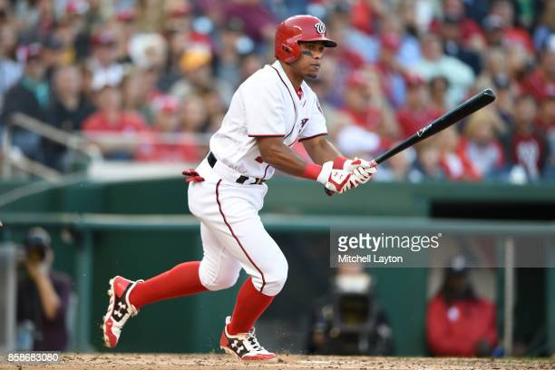 Wilmer Difo of the Washington Nationals takes a swing during a baseball game against the Pittsburgh Pirates at Nationals Park on October 1 2017 in...