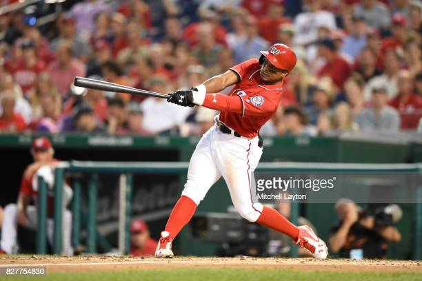 Wilmer Difo of the Washington Nationals takes a swing during game two of a doubleheader baseball game against the Colorado Rockies at Nationals Park...