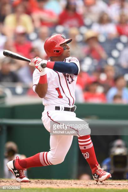 Wilmer Difo of the Washington Nationals takes a swing during the game against the Philadelphia Phillies at Nationals Park on April 16 2017 in...