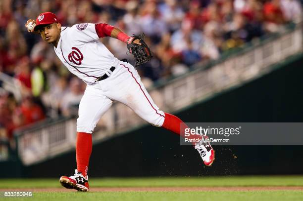 Wilmer Difo of the Washington Nationals throws out Martin Maldonado of the Los Angeles Angels of Anaheim at first base on a ground ball in the...