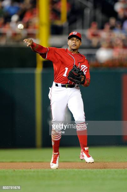 Wilmer Difo of the Washington Nationals throws the ball to first base against the San Francisco Giants during Game 2 of a doubleheader at Nationals...