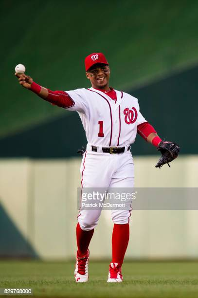 Wilmer Difo of the Washington Nationals warms up before the start of a game against the Miami Marlins at Nationals Park on August 9 2017 in...