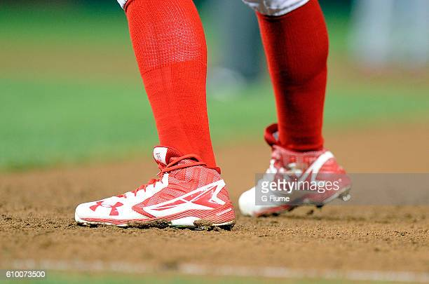 Wilmer Difo of the Washington Nationals wears Under Armour shoes during the game against the Atlanta Braves at Nationals Park on September 7 2016 in...