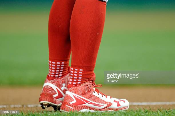 Wilmer Difo of the Washington Nationals wears Under Armour shoes during the game against the San Francisco Giants at Nationals Park on August 12 2017...