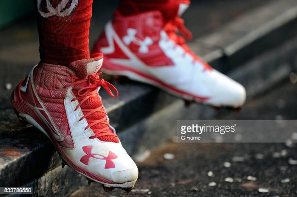 Wilmer Difo of the Washington Nationals wears Under Armour shoes during the game against the San Francisco Giants during Game 2 of a doubleheader at...