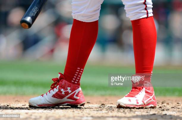 Wilmer Difo of the Washington Nationals wears Under Armour shoes during the game against the San Francisco Giants during Game 1 of a doubleheader at...