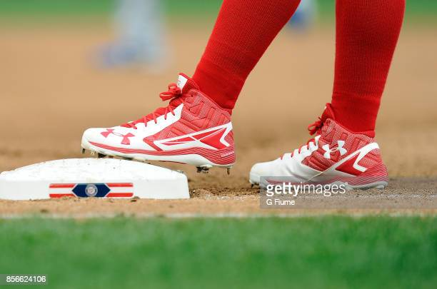 Wilmer Difo of the Washington Nationals wears Under Armour shoes during the game against the Los Angeles Dodgers at Nationals Park on September 16...