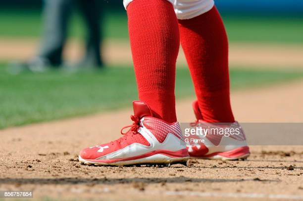 Wilmer Difo of the Washington Nationals wears Under Armour shoes during the game against the Philadelphia Phillies at Nationals Park on September 10...