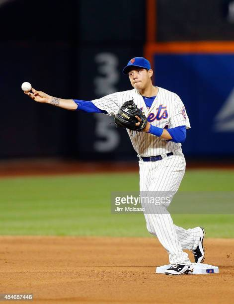Wilmer Flores of the New York Mets in action against the Atlanta Braves at Citi Field on August 27 2014 in the Flushing neighborhood of the Queens...